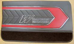 HOLDEN LC TORANA GTR DOOR TRIM SET SEDAN BLACK WITH RED INSERT (METAL TOP EXCHANGE)