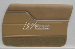 HOLDEN HZ MONARO SEDAN DOOR TRIM SET BUCKSKIN 63V WITH BUCKSKIN GOLF BALL INSERT (METAL TOP EXCHANGE)