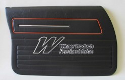 HOLDEN HX KINGSWOOD FRONT DOOR TRIM SET BLACK LONG GRAIN TRIM CODE 30X (METAL TOP EXCHANGE)
