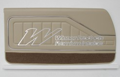 HOLDEN HQ COUPE DOOR TRIM SET DOESKIN CHESTNUT  (METAL TOP EXCHANGE) TRIM CODE 38X