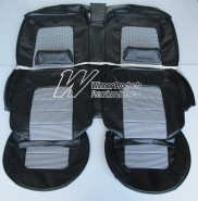 HOLDEN HQ MONARO COUPE SEAT COVER SET BLACK ROEBUCK WITH BLACK & WHITE HOUNDSTOOTH INSERT (TRIM CODE 10Y)