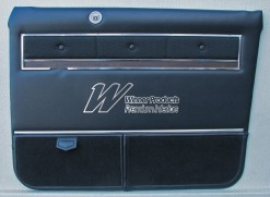 HOLDEN HK  BROUGHAM  DOOR TRIM SET BLACK (TRIM CODE 10M) (METAL TOP, CHROME AND BUTTONS EXCHANGE)